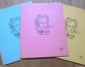 French 1950s School Drawing Notebooks - 1800s Girl Portrait : J.B Creuze - Lot of 3  - Made in France - New