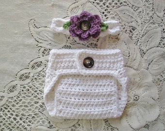 White and Medium Purple Headband and Diaper Cover Photo Prop Set - Available in Newborn to 24 Months - Any Color Combination