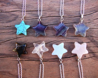 Choose one crystal star necklace on silver chain