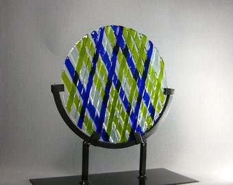 Art Glass Sculpture Modern Contemporary Sun Catcher Royal Blue and Yellow Criss Cross Artist Signed