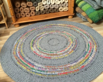 MADE TO ORDER crochet round rug, beautiful grey with refreshing color accents