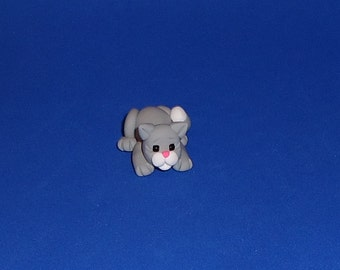 Polymer Clay Gray and White Cat