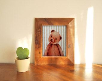 Coupon tissu illustration pour carte baby shower nounours pour création textile esprit vintage impression textile à encadrer