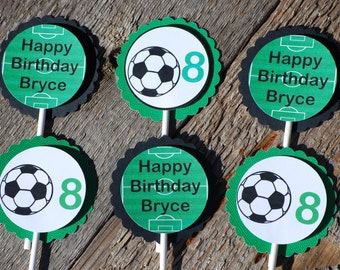 Soccer Cupcake Toppers Set of 12, Soccer Birthday Party Toppers