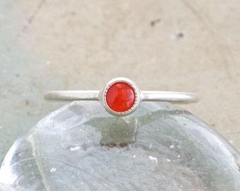 Little Orange Dot - Small Sterling Silver Ring - Size 4 - Pinky Finger