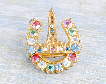 Souvenir from Blackpool - Seaside England - Colorful Rhinestones Brooch