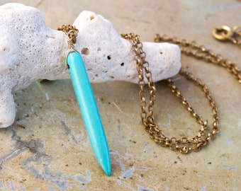 Turquoise Horn Necklace - Stone Pendant on Brass Chain - boho Jewelry