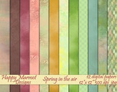 """Digital Scrapbooking Paper Printable Patterned Backgrounds - 12 paper designs - 12""""x 12""""- 300 dpi - jpg - Spring in the air"""