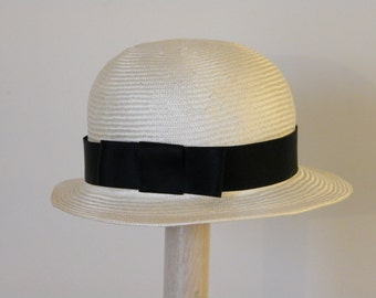 Black and white straw hat, Ivory boater sun hat, summer hat for a special event, elegant dress hat