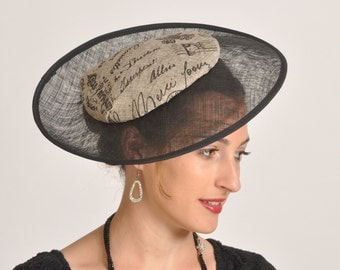 black percher, disk hat, unusual hat, elegant hat for a special event, Kentucky Derby, Ascot hat