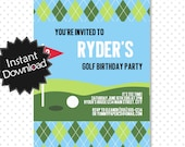Editable Golf Invitation - Instant Download, have it printed in minutes, instructions included - You Edit with Adobe Reader .. gp01