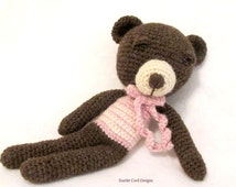 Crochet Teddy Bear Wool Yarn Stuffed Toy Amigurumi Doll Teddy Bear