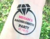 20 Bachelorette Party Tattoos - Bachelorette Party Favors - Engagement Ring Diamond Bachelorette Tattoos