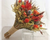 Tequila Sunrise Collection - Natural Dried & Preserved Wedding Bouquet - Bridal Bouquets - orange, red, brown, gray - Rustic Fall Wedding