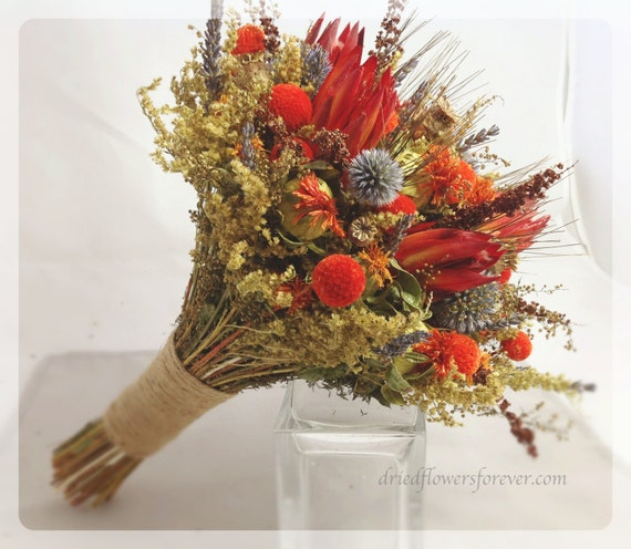 5 Wedding Bouquet Etiquette Questions You Need To Read: Tequila Sunrise Collection Natural Dried & By