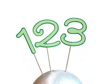 Number cupcake toppers or party picks - choose your quantity & colors (C1)