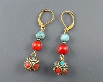 """1.25""""Nepal brass Turquoise,red Coral beads handmade earrings -0210W"""