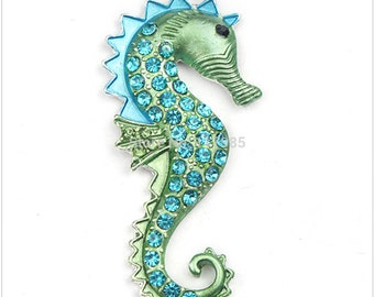 Sea Horse Rhinestone Chunky Bead Pendant Bling Bubblegum necklace pendant
