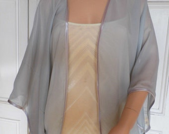 Silver chiffon kimono/jacket/wrap/cover-up/bolero with satin edging