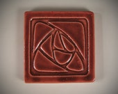 Stylized Red Rose Design hanging Tile / Prairie, Craftsman, Mission Style