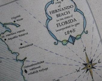 Hernando Beach, Florida, Vintage Map Pillow, Blue Pillows, Vintage Maps, Nautical, Shabby Chic Cottage, Coastal, Sea Shells, Beach Decor
