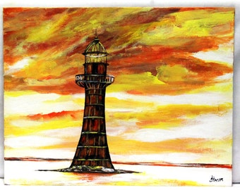 "Lighthouse painting,  11"" x 14"" canvas board, original painting, acrylic painting, wall art, office art, seascape art, wall decor,"
