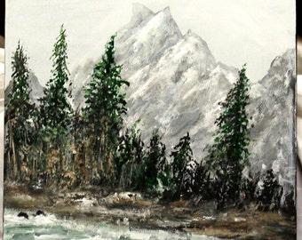 "Mountain Lake painting, 12"" x 12"" Box canvas, original and acrylic art, wall decor, home decor, wall art, unframed art, office art"