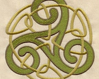 Knotwork Triskele Embroidered Flour Sack Hand/Dish Towel