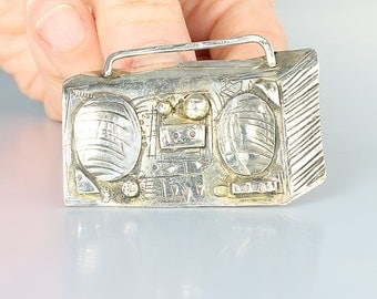 Cast Sterling silver Radio Brooch, Vintage Old Fashioned, Signed C Maziere, heavy designer figural brooch