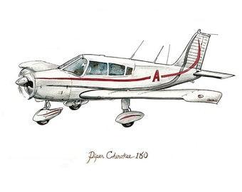 "Piper Cherokee airplane watercolor print, 8x10"""
