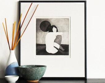 Original Etching Print SHY GIRL Asian Erotic Aquatint Printmaking Nude Geisha Poetic Limited Edition Engraving Print 10x10