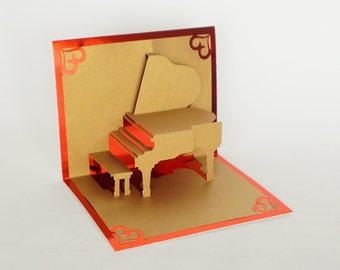 VALENTINE'S DAY Grand Piano Elegant 3d Pop Up CARD Home Decor Handmade Hand Cut in Gold and Bright Shimmery Metallic RedOne of a Kind