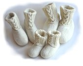 Handmade wool felted slippers - house shoes - natural - eco friendly - family set - 3 pairs felted slippers