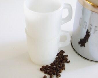 Vintage, Fire King Mugs, Stackable, Coffee Mugs, Plain White, Milk Glass, Set of 2, Anchor Hocking, Minimal, 8 oz