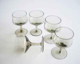Vintage Sweet Wine or Cordial Glasses Smoky Green Set of 5 Fine Crystal Small Wine Glass Retro Mod Possibly Orrefors Rapsody
