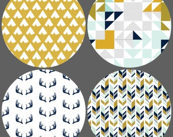 Navy and Mustard Tribal Crib Bedding Set - 4 Piece Set - Crib Bumper, Fitted Crib Sheet, Crib Skirt, Crib Blanket