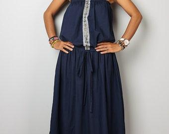 Navy Blue Maxi Dress / Romantic Summer Dress  : Cheer me Up collection