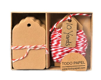 READY TO SHIP | Kraft mini tag and red bakers twine gift boxed set. Pretty supplies for home and office cotton floss string many colors