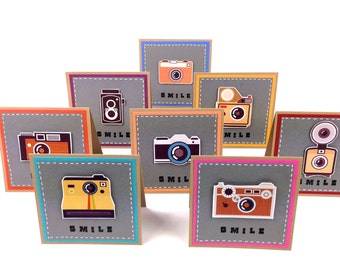 Retro Vintage Camera Collection Cards - Handmade Funny Cards Photographers Gifts. Cute Smile cards. Blank Stationery set. Invitations 4x4