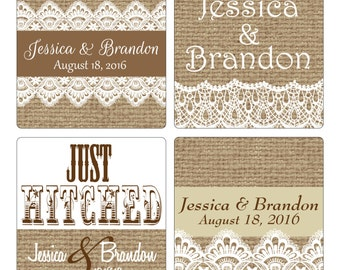 200 - 2 inch Burlap / Linen and lace Personalized Glossy Waterproof Wedding Stickers - change designs to any color, wording etc