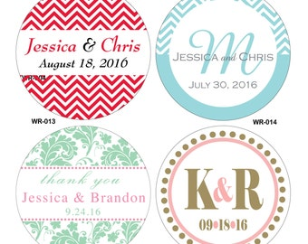 40 - 2.75 inch Custom Glossy Waterproof Wedding Stickers Labels - hundreds of designs to choose - change designs to any color or wording