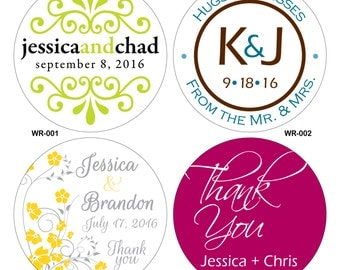 156 - 2.25 inch Custom Glossy Waterproof Wedding Stickers Labels - hundreds of designs to choose - change designs to any color or wording