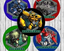 """INSTANT DOWNLOAD Transformers Prime JPEG 4x6 Digital Collage Sheet 1"""" Circle Images Bottle Caps Cupcake Toppers Pendant"""