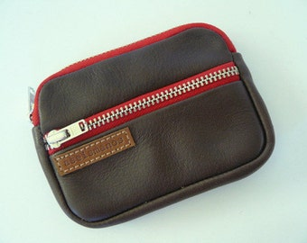 Retro leather wallet -dark brown leather coin purse - wallet - Gift for him -Gift for her -aseismanos