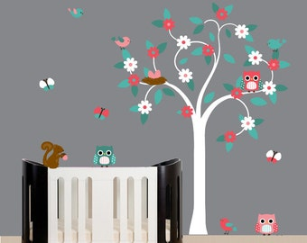 White swirl tree wall decal sticker design turquoise light pink dark pink squirrel owls birds butterflies