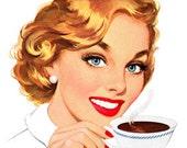 Retro Cartoon Comic  Woman Drinking Coffee Tea - Vintage Art Illustration - Digital Image - Instant Download