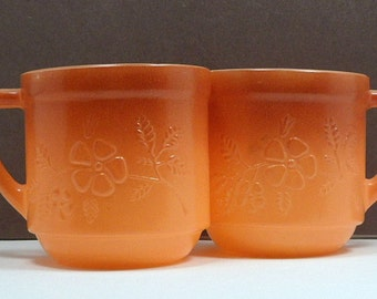 Sale 2 Coffee Cups Tea Cups Mugs Stacking Fired-On Burnt Orange Fade Vintage 1960s Embossed Flower Milk Glass