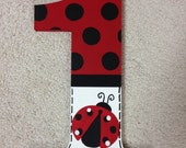 Ladybug - first birthday - photo prop - lady bug - hand painted - wooden number 1