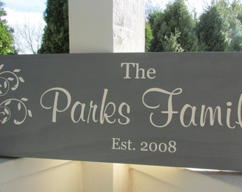 Personalized sign with family name, established date and tree - custom family wood sign in colors of your choice  LR-032