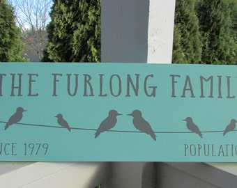 Personalized family sign - your family name - bird family on a wire - population number - established or since date  LR-056